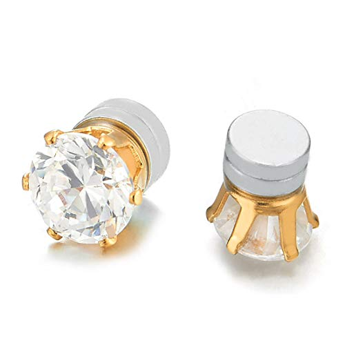 Mens Womens Magnetic Cubic Zirconia Stud Earrings, Gold Steel, Non-Piercing Clip On Cheater Fake Ear