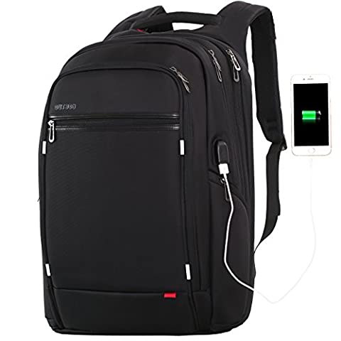 17.3 inch Laptop Backpack for Men,Water Resistant Polyester Backpack with USB Charging Port,Large Bookbag College Backpack Travel bag Black Business Backpack fit 15.6 17.3 laptops by - Specialized Electronics