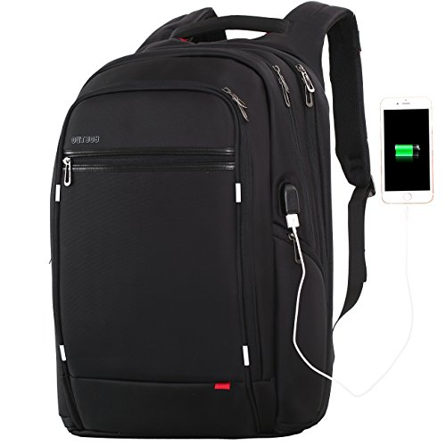 18 inch large Laptop Backpack for Men,Water Resistant Polyester Backpack with USB Charging Port,Large Bookbag College Backpack Travel bag Black Business Backpack fit 15.6 17.3 laptops by Outjoy