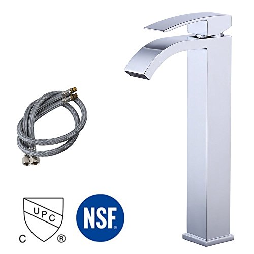 KES Lead-Free Brass Bathroom Sink Faucet Single Handle Waterfall Spout for Vessel Bowl Sink Faucet Countertop Tall Polished Chrome, L3109B1LF by Kes