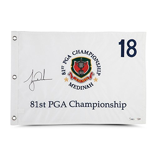 TIGER WOODS Autographed 1999 PGA Championship Pin Flag UDA (Golf Pga Hat Tour)