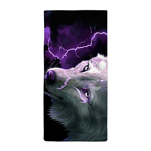 JKYUKO A Wolf Under Lightning Bath Towel Microfiber Beach Towl 90*150cm