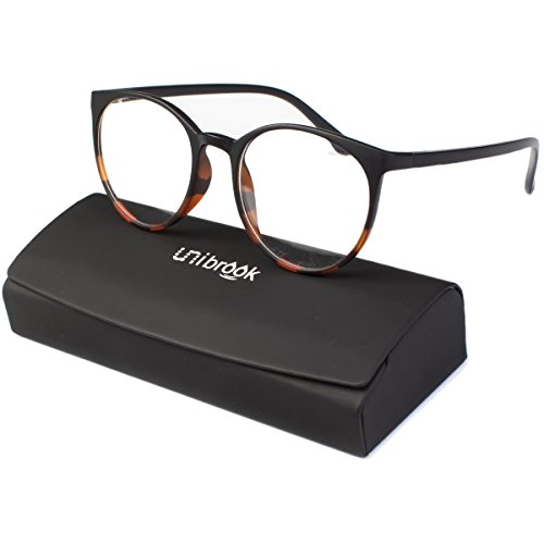 Unibrook Women/Ladies Round Brown Rx Eyewear Frame with Demo Clear Lens & Case
