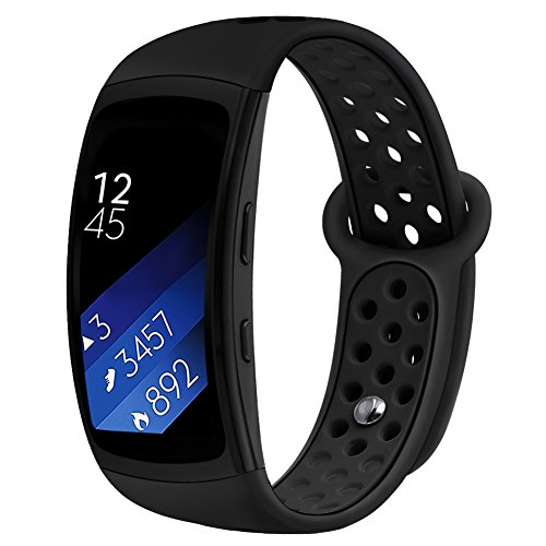 Band Compatible Gear Fit2 Pro /Fit2, Kmasic Silicone Sport Replacement Strap for Samsung Gear Fit 2 Pro & Fit 2, Black