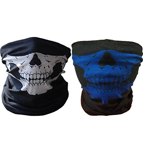 ToBe-U Seamless Multi Function Half Face Skull Tube Mask for Halloween, 2 pieces  WB ()