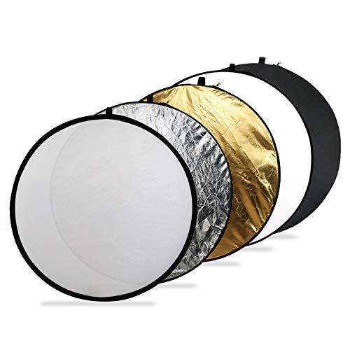 Issuntex 43 Inch(110cm) Photography Reflector Photo Video Studio Multi Collapsible Disc 5-in-1 Lighting Reflector ()
