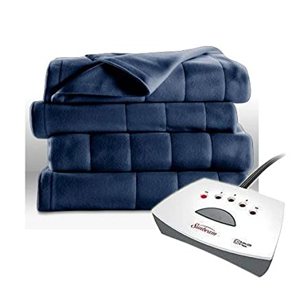 Sunbeam Fleece Heated Blanket - Twin Blue best twin electric blankets