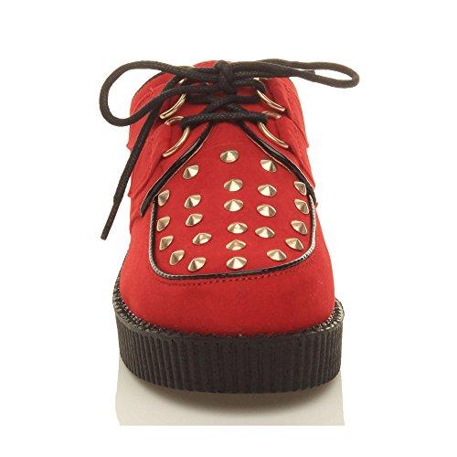 Damen Schuhe Flach Plateau Keilabsatz Schnürsenkel Gotisch Punk Creepers Schuhe Stiefel Rotes Wildleder mit Front-Nieten