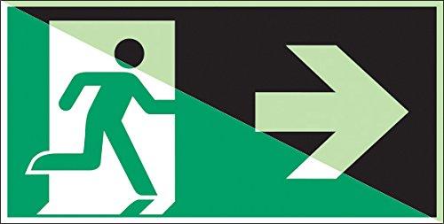 Brady 834457Notfall und Erste Hilfe Klasse C Polyester Schild, Notausgang (rechts), 300mm x 300mm, langnachleuchtend auf Grün