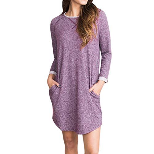 BEAUTYVAN Women's 3/4 Sleeve Pockets Short Dresses Pleated A-Line Casual Swing T-Shirt Dresses Mini Dress -
