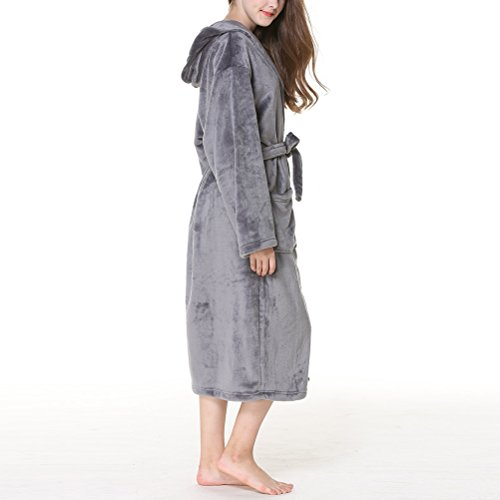 Unisex Thick Plus Dark Albornoz Flannel Zhuhaitf Gray Women Hooded Size Comfy Pijama Men Warmth Winter Nightgown Fashion qUUwvzIO