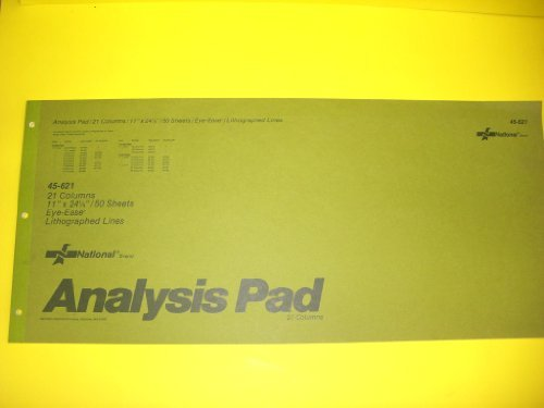 National(R) Brand #45-621 Analysis Pad, 21 Columns, 11'' x 24 1/2'', 50 Sheets, Eye-Ease(R), Lithographed Lines