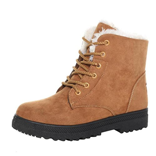 Womens Winter Boots, Egmy Warm Shoes Snow Boots Fashion Winter Short Boots Brown