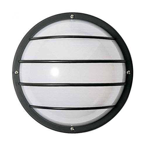 Nuvo Bulkhead Outdoor Wall (Nuvo SF77/859 Bulkhead 1-Light Round Cage 75W A19, Textured Black)