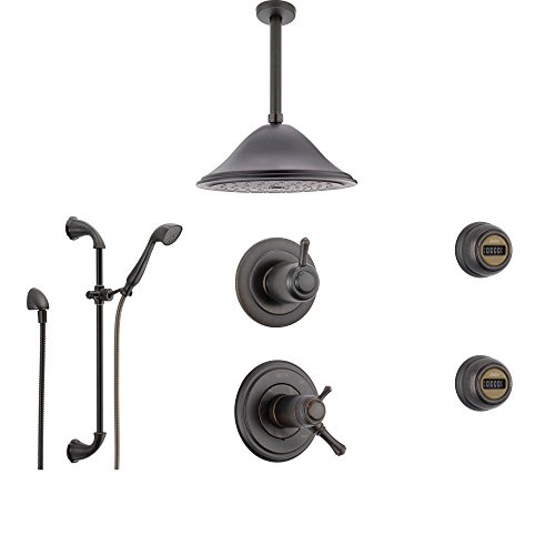 Delta Cassidy Venetian Bronze Shower System with Thermostatic Shower Handle, 6-setting Diverter, Large Rain Showerhead, Handheld Shower, and 2 Body Sprays SS17T9795RB Delta Faucets