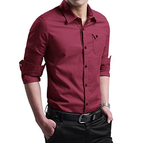 LOCALMODE Men's Military Slim Fit Dress Shirt Casual Long...