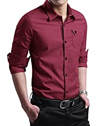 Men's Military Slim Fit Dress Shirt Casual Long Sleeve Button Down Dress Shirts