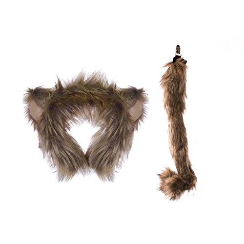 [Life-like Monkey Ears Headband and Tail Set for Zoo Animal Party and Monkey Costume Cosplay] (Halloween Tree Costume)
