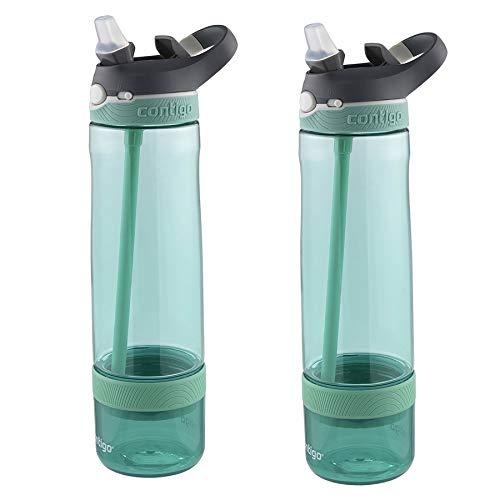 Contigo AUTOSPOUT Ashland Straw Water Bottle 26oz Jade w/Fruit Infuser (2-Pack)