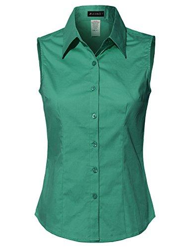 Green Sleeveless Cotton Shirt (LE3NO Womens Lightweight Cotton Sleeveless Button Down Shirt)