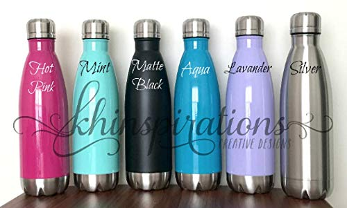 Khinspirations - 17 oz Stainless Steel Water Bottle Double Wall BPA free mint matte black aqua silver lavender hot pink fuchsia hot or cold thermal bottle chic and stylish travel