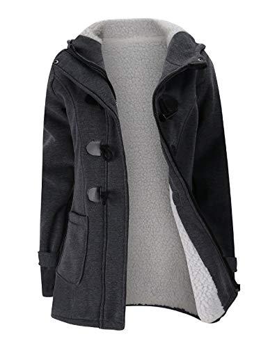 Verdusa Women's Slim Skinny Winter Warm Coat Hooded Jacket Outerwear Dark Grey S
