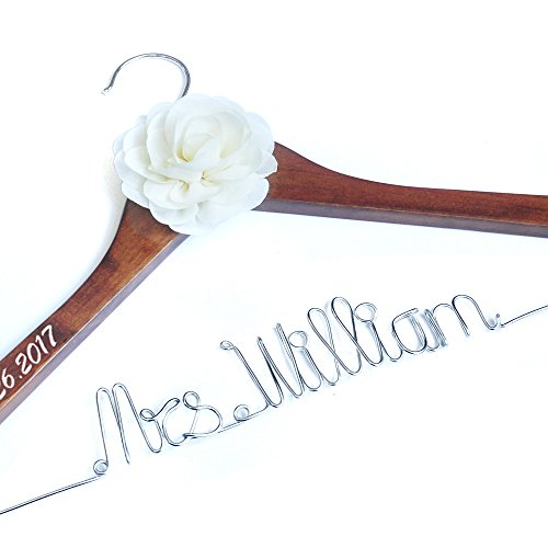 Personalized Wedding Hanger, Brides Hanger, Name Hangers, Bridesmaid Hangers, Bride Groom Hanger, Hanger with Flower -