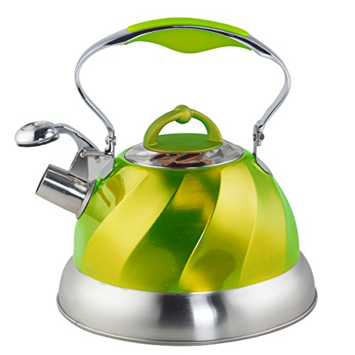 Riwendell Stainless Steel Whistling Tea Kettle 2.6-Quart StoveTop Kettle Teapot (Green)
