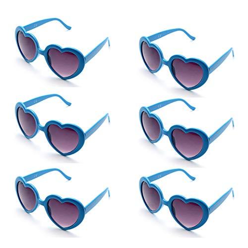 6 Neon Colors Heart Shape Party Favors Sunglasses, Multi Packs (6-Pack Blue)