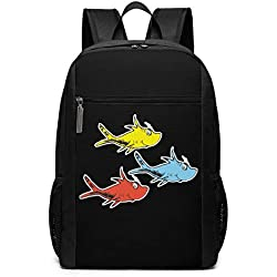 OKMI-OP One Fish Two Fish Three Fish Laptop Backpack for Men Women, Water Resistant Polyester Backpack School Office Work Fit Most 17 Inch Computer