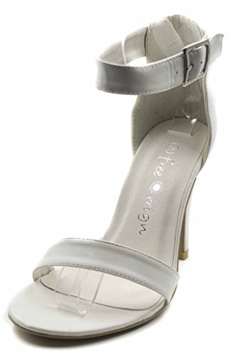 Orly Shoes Women's Wide Width Strappy PU Heel Sandal Pump in White Size: 9W