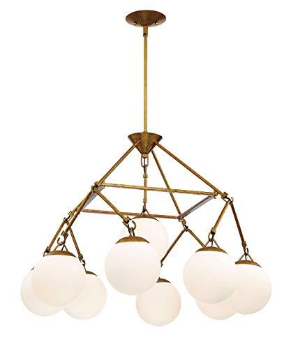 - Craftmade 50729-PAB Orion Chandelier, 9-Light, 540 Watts, Patina Aged Brass (22