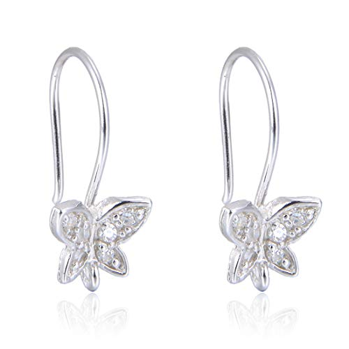 1 Pair Beautiful Sterling Silver Butterfly Earring Hooks 19mm Ear Wire Connectors Simulated Diamond Earwire for Earrings Jewelry Making SS34