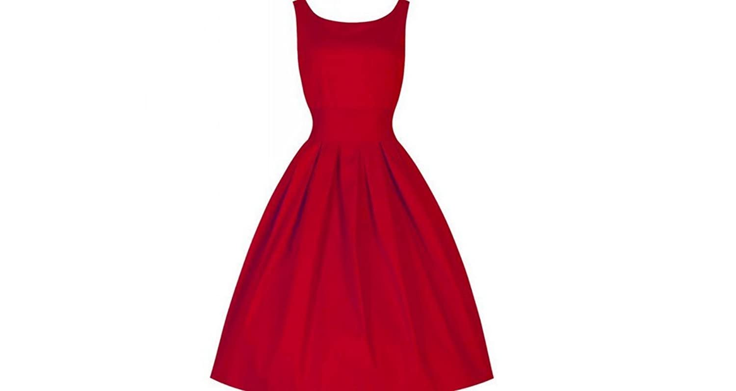 Casual Party Robe Rockabilly 50s Vintage Vestidos Red at Amazon Womens Clothing store: