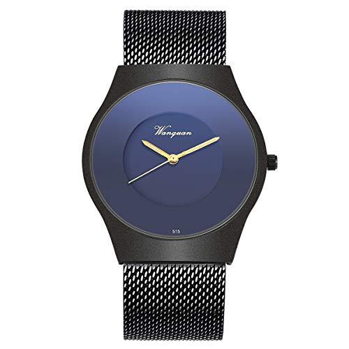 Wrist Watch Men Ultra-Thin Minimalist Mesh Stainless Steel Band SIBOSUN Quartz Analog Black