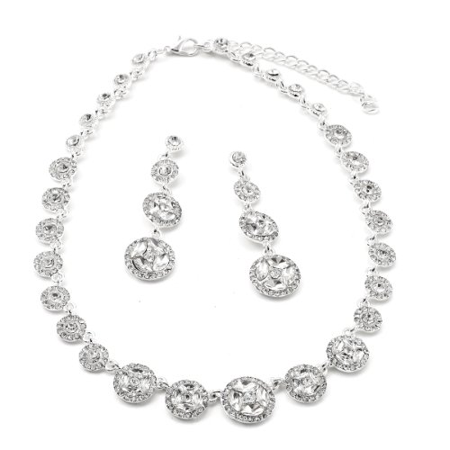 Round Necklace Earring Set - Silver Crystal Round Dangle Earrings & Round Rhinestone Bling Connection Necklace Jewelry Set