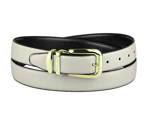 CONCITOR Reversible Belt OFF WHITE & Black Bonded Leather Gold-Tone Buckle 32 from Concitor