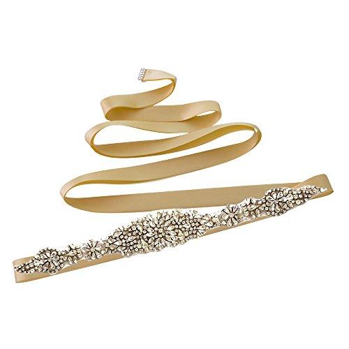 Dress Champagne Wedding Bridal Crystals Sash Diamonds Belt S123 Women's Sash ULAPAN Belt pSTnPEx