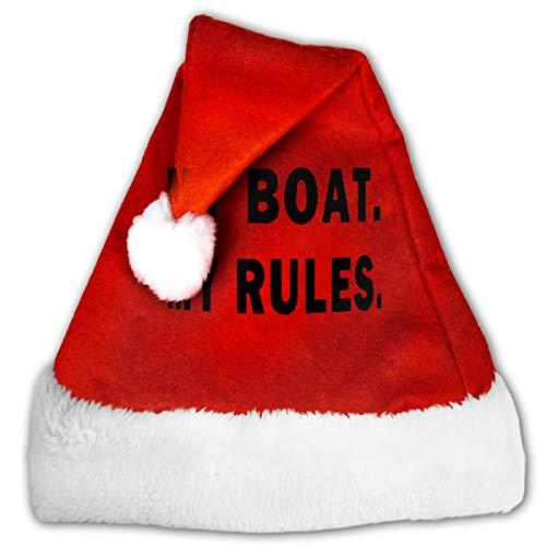FQWEDY My Boat My Rules Unisex-Adult's Santa Hat, Velvet Christmas Festival Hat