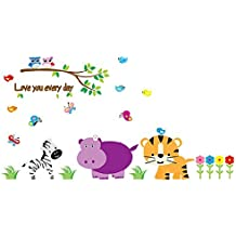 DealMux Animals Print Nursery School Bedroom Removable Wall Sticker Wallpaper Mural