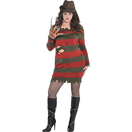 Women's Freddy Krueger Costume (SUIT YOURSELF A Nightmare on Elm Street Miss Krueger Costume for Adults, Plus Size, Includes a Dress, a Hat, and a)