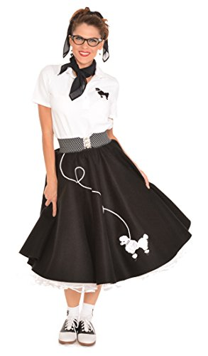 [Hip Hop 50s Shop Adult 7 Piece Poodle Skirt Costume Set Black and White XXXLarge] (Homemade Costumes With Black Dress)