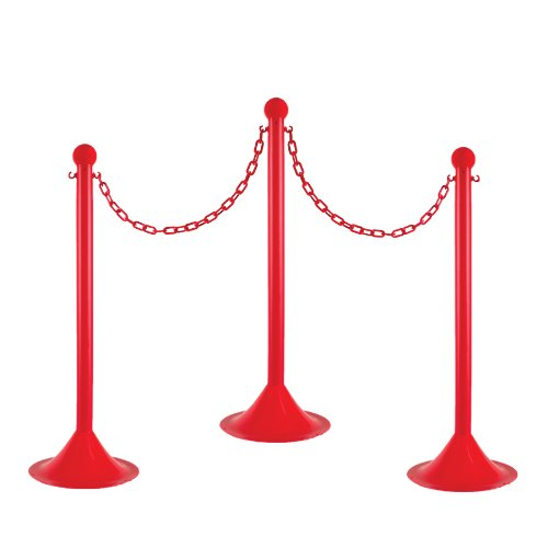 Mr. Chain 71005-6 Red Plastic Stanchion Kit with 50' of 2