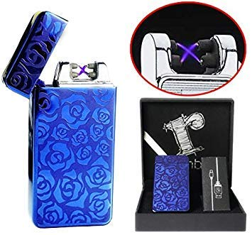 Dual arc plasma lighter Blue with gift box Windproof flameless tesla coil lighter electric usb rechargeable usblighter survival camping double edc luxury design Cool Christmas Gift for men him her by Rhombus