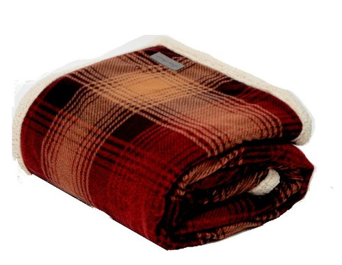 Cotton Sherpa Blanket (Eddie Bauer Sherpa Throw, Raisin)