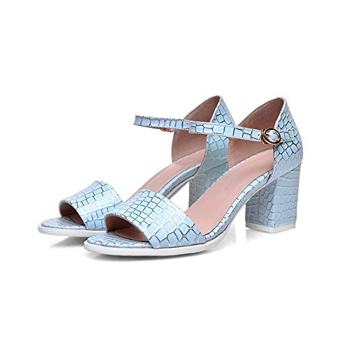 Sandali Open Toe Open Toe Color Blu Con Cinturino In Pelle Di Amoonyfashion
