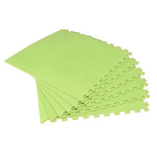 We Sell Mats Lime Green 48 Sq Ft (12 Assorted Tiles + Borders) Foam Interlocking Anti-Fatigue Exercise Gym Floor Square Trade Show Tiles ()