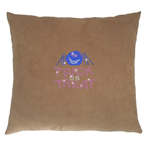 TeezCrew Solid Faux Suede Super Soft Cushion Cover Pillowcase Halloween Series Spider Rhinestone Throw Pillow