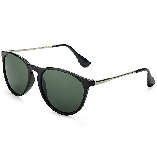 WELUK Wayfarer Sunglasses Polarized Women Men 60mm Round Retro Large Lens (Black & Green, - Most Frames Glasses Popular For Men