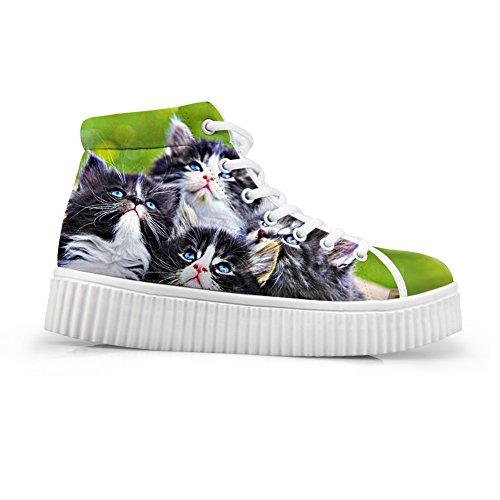 Klemmer Ideen Søt Hund Utskrifts Sko Uformell Snøring Høy Topp Plattform Sneaker Shoes9